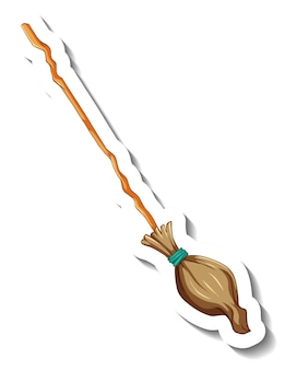 Broomstick sticker on white background