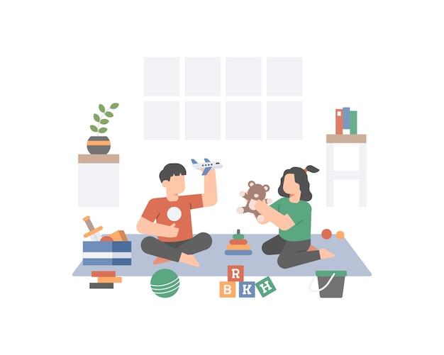 Брат и сестра играют вместе дома