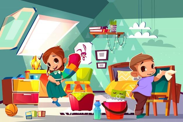 Брат и сестра чистят в детской спальне карикатуру с героями мальчика и девочки