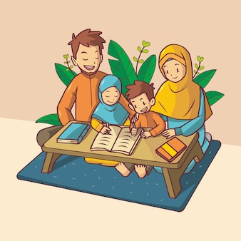 Brother and sister are studying with their parents. they wear orange and blue clothes