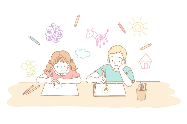 Brother and sister drawing together in line style