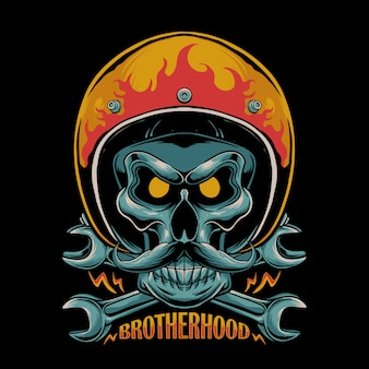 Brotherhood motorcycle illustration. skull wearing biker helmet