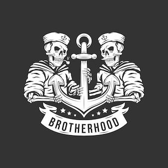 Братство старинный череп моряка с иллюстрацией якоря