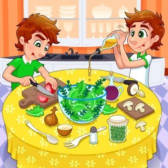 Brothers preparing a salad