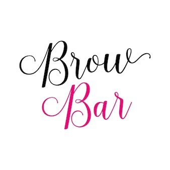 Brow bar lettering with swirls