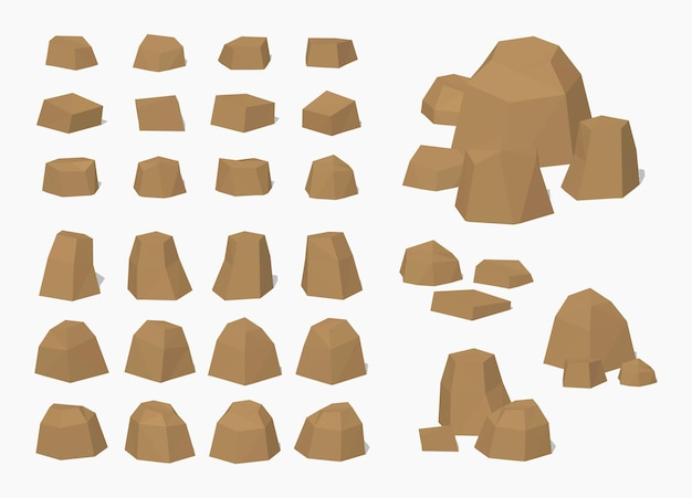 Brown 3d lowpoly isometric rocks and stones