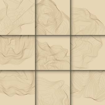 Brown abstract contour lines collection