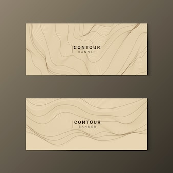 Brown abstract map contour lines banners set