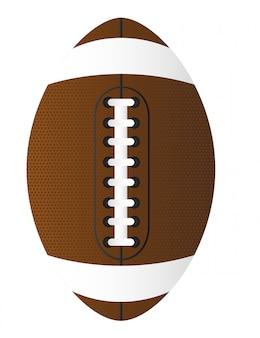 白い背景のベクトル図の上に茶色のアメリカンフットボール