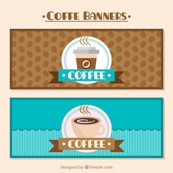 ブラウンとブルーのコーヒーバナー
