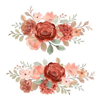 水彩で茶色と赤面の花の花束コレクション