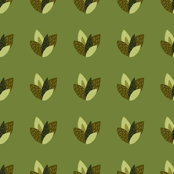 Коричневый и зеленый листья в бесшовные модели с оливковым фоном.