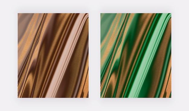 황금색 반짝이 액체 대리석 질감의 갈색과 녹색