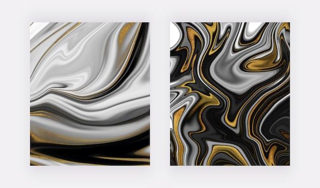 황금빛 반짝이 액체 대리석 배경이 있는 갈색과 회색