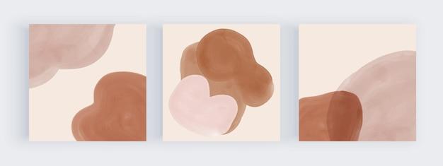 ソーシャルメディアの投稿のための茶色とヌードの水彩画の形のデザイン