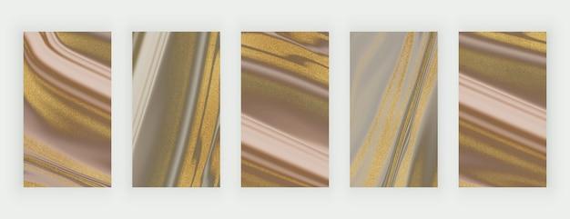 ソーシャルメディアのための金色のキラキラ液体大理石の背景を持つ茶色とヌード