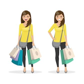 Женщина с каштановыми и прямыми волосами с хозяйственными сумками в двух разных положениях