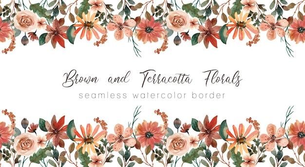ブラウンとテラコッタの花柄水彩シームレスボーダー