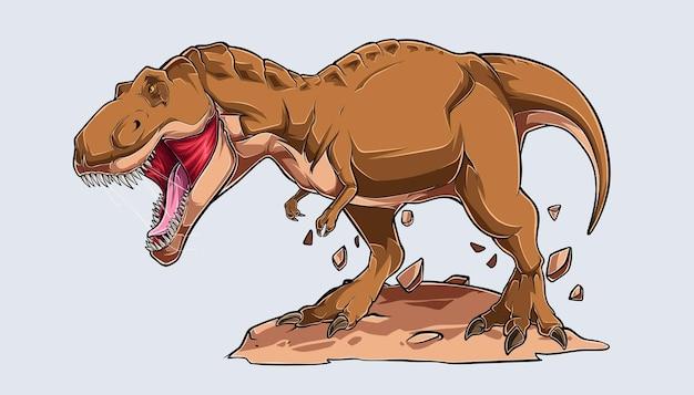 茶色の怒っているティラノサウルスレックスが先史時代の肉食動物を咆哮する