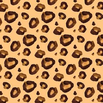 茶色のアニマルプリント水彩シームレスパターン