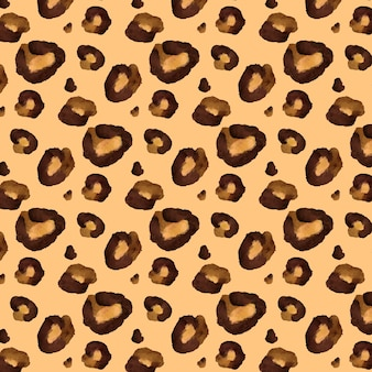 Brown animal print watercolor seamless pattern
