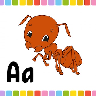 Brown ant. animal alphabet. zoo abc. cartoon cute animals on white background.