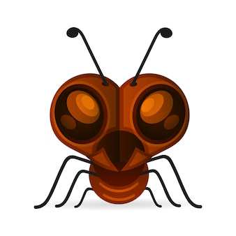 Brown ants isolated on white. insect icon.