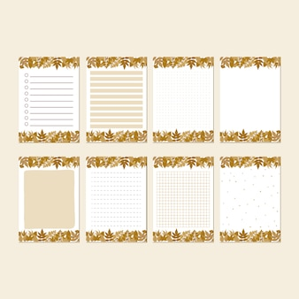 Brown autumn leaf stationary set template