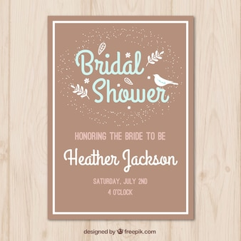 Brown bachelorette invitation with bird and plants