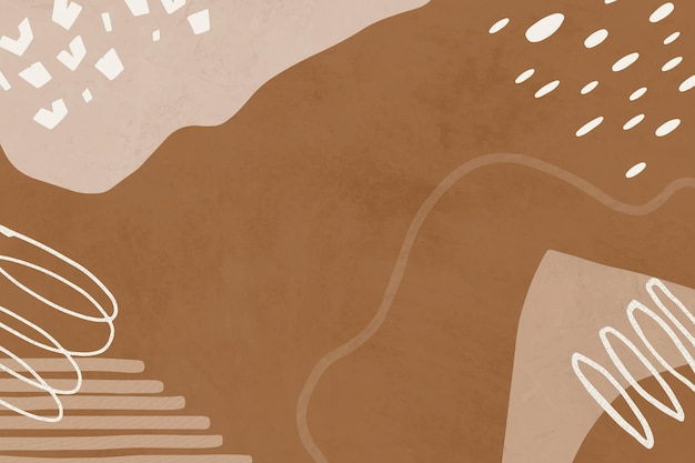 Brown background with abstract memphis illustrations in earth tone