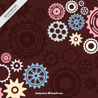 Brown background with gears in pastel colors