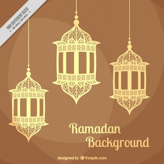Brown Background With Lanterns