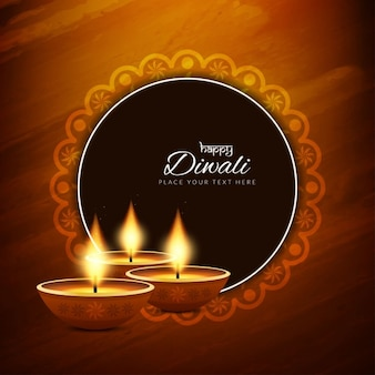 Brown background with ornamental frame for diwali