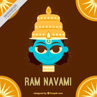 Brown background with ram navami in flat design
