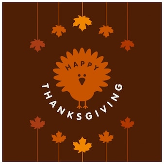 Brown background with a turkey for thanksgiving day