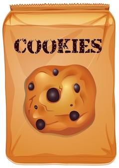 초콜릿 칩 쿠키의 갈색 가방