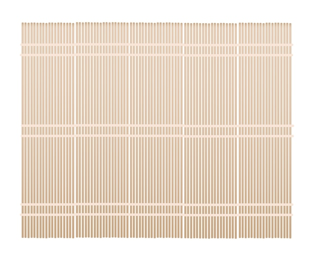 Brown bamboo mat on white background