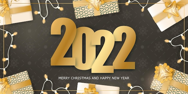 Brown banner. merry christmas and happy new year. background with realistic gift boxes, garlands and light bulbs.