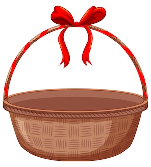 Brown basket with red ribbon on white