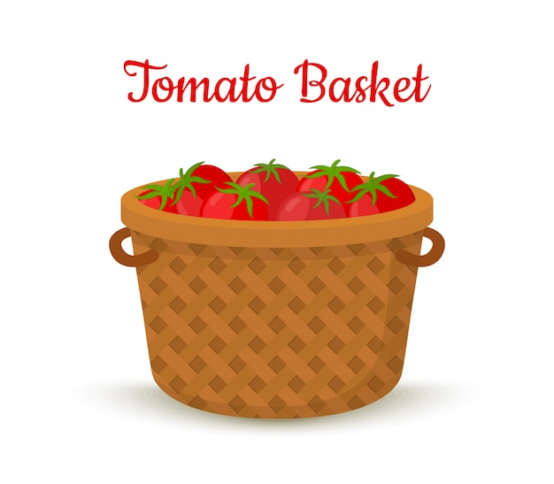 Brown basket with tomatoes