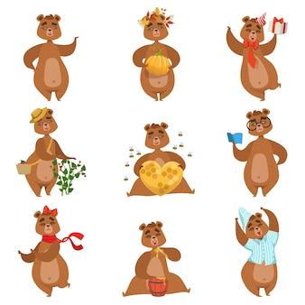 Бурый медведь различные виды деятельности набор символов девчушки