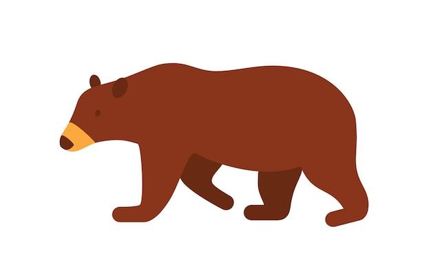 Бурый медведь плоский векторные иллюстрации. большое дикое животное, житель тайги, изолированные на белом фоне. русский национальный традиционный символ и талисман. карниворанское млекопитающее, дикая природа, медведь гризли.