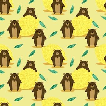 Brown bear and lemon seamless pattern.