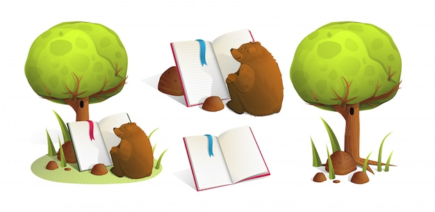 Brown bear reading a book under green tree in forest.