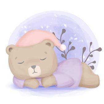 Бурый медведь спит для зимней спячки