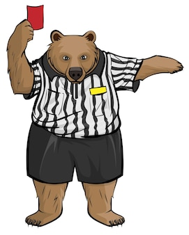 Brown bear soccer football referee shows red card