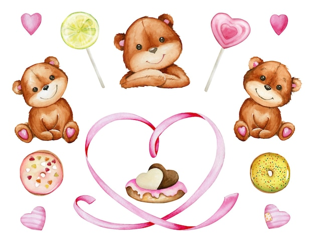 Brown bears, heart, sweets, cake. watercolor set of elements, for the valentine's day, on an isolated background.