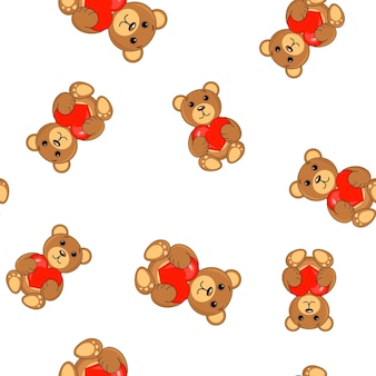 Brown bears with a heart in paws pattern seamless background.