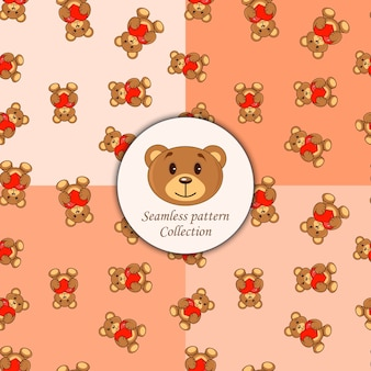 Brown bears with heart set of seamless patterns