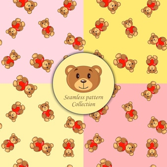 Brown bears with heart set of seamless patterns.
